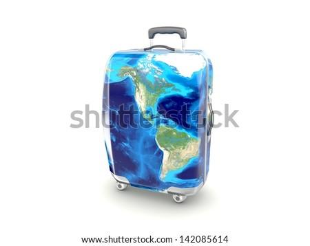 luggage earth map isolated on white background - stock photo