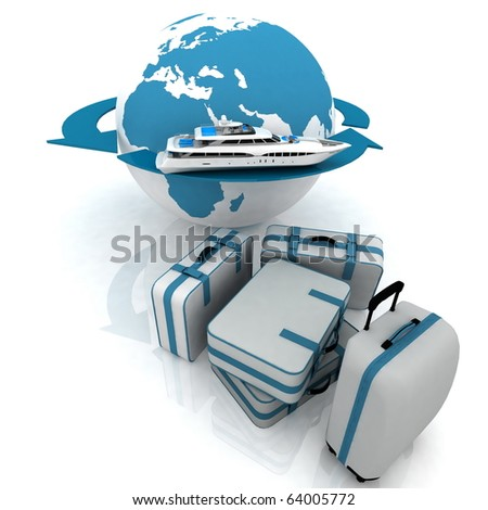 luggage for a round-world voyage - stock photo