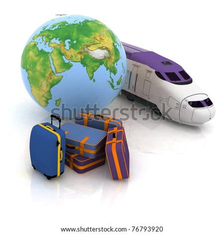 luggage, for the protracted journey on a train - stock photo