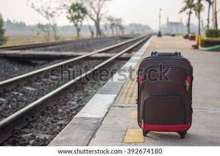 Luggage on the train this morning. - stock photo