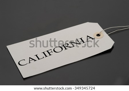 Luggage tag with word California