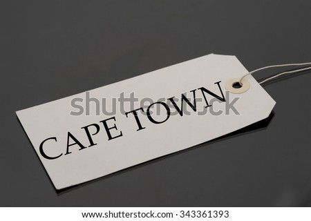 Luggage tag with word CAPETOWN.
