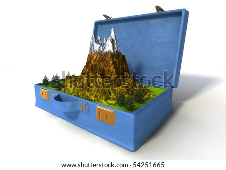 luggage with a mountain landscape inside isolated on white - stock photo