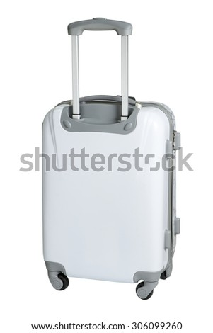 luggage with three handle and four wheels isolated on white background - stock photo