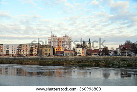 LUGOJ, ROMANIA - 01.02.2016: cityscape over timis river