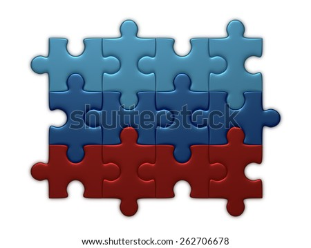 Luhansk People's Republic flag assembled of puzzle pieces isolated on white background - stock photo