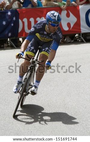 LUIK, BELGIUM - JUNE 30: during the prologue of Tour de France cycling tour Juny 30, 2012 in Luik , Belgium.  - stock photo