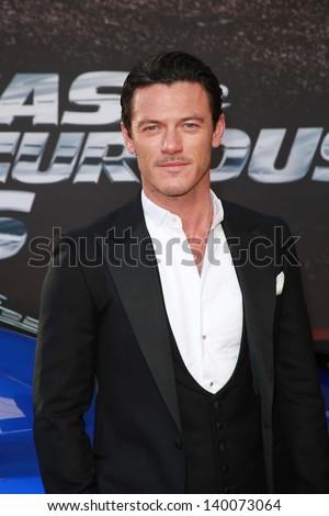 "Luke Evans at the ""Fast And Furious 6"" Los Angeles Premiere, Gibson Amphitheatre, Universal City, CA  05-21-13 - stock photo"