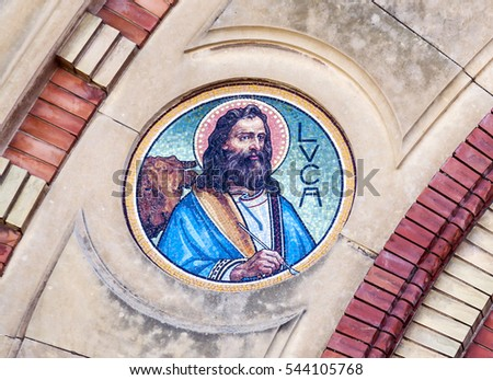 Luke mosaic on cathedral in Sibiu, Romania