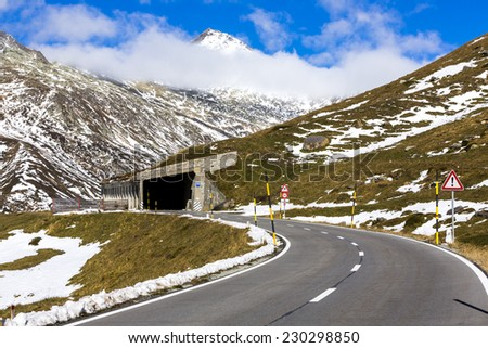 Lukmanier mountain pass in Switzerland - stock photo