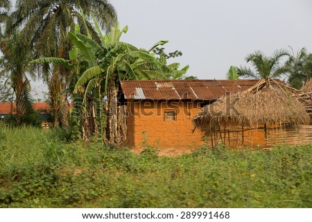 LUKONGA, DEMOCRATIC REPUBLIC OF CONGO - CIRCA, SEPTEMBER 2008.  UNICEF mission against tetanus. Poor house of Congolese villagers
