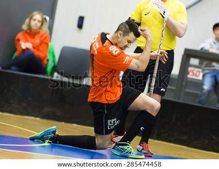 Lulea, Sweden - June 4, 2015. Friendship game in floorball between Lulea Hockey and IBK Lulea. Reed Hearns (IBK Lulea) scores a goal!