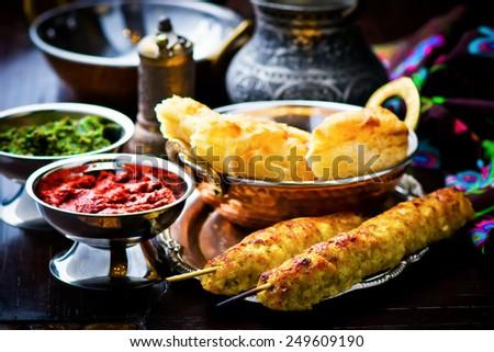 Luleh kebab ,traditional east dish. ethnic style. selective focus. - stock photo