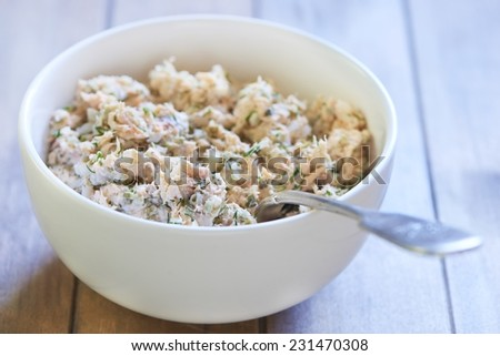 Lumaconi pasta with baked salmon, pickles and capers, italian cuisine. Cooking process. Step 4. Stuffing mix - stock photo