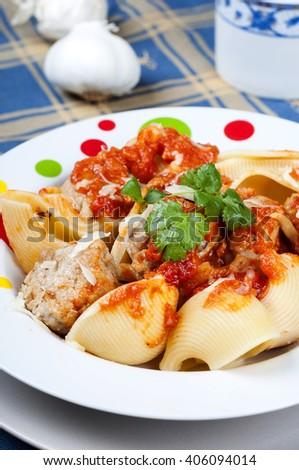 lumaconi pasta with meatballs in tomato sauce rustica - stock photo