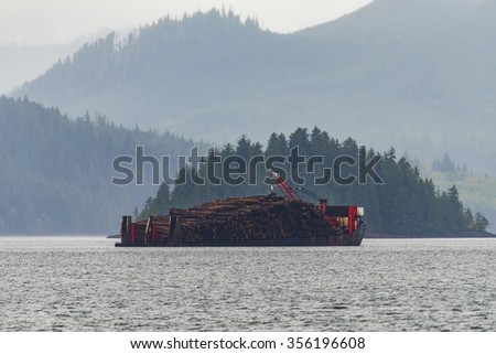 Lumber carrier cargo ship off the coast in the Pacific Northwest BC Canada
