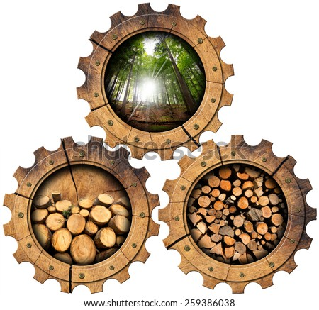 Lumber Industry - Wooden Gears. Three wooden gears with green forest, trunks of trees cut and stacked, dry cut firewood logs in a pile. Isolated on white background - stock photo
