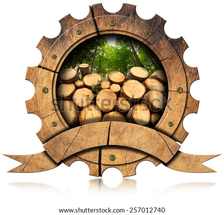 Lumber Industry - Wooden Icon. Wooden icon in the shape of gear with trunks of trees cut and green forest. Isolated on white background - stock photo