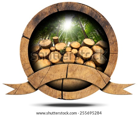 Lumber Industry - Wooden Icon. Wooden icon with trunks of trees cut and green forest with sun rays, empty wooden ribbon for text. Isolated on white background - stock photo