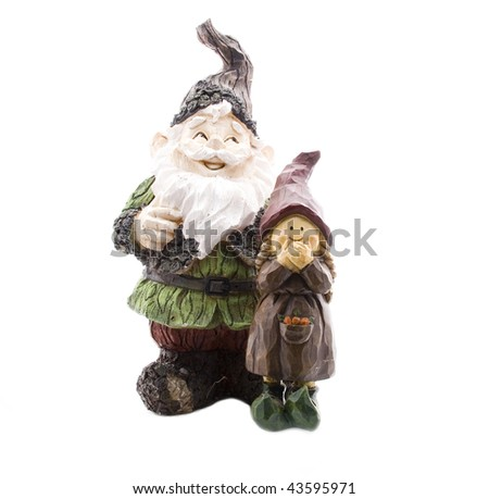 Lumberjack and Little Girl Lawn Gnome on White - stock photo