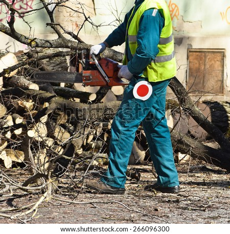 Lumberjack is working with a chainsaw - stock photo