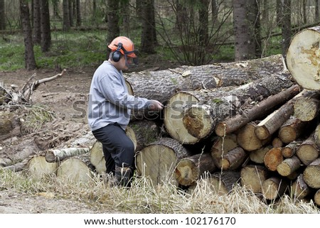 Lumberjack with a chain near a pile of logs - stock photo