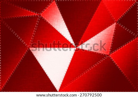 Luminous cloth background, triangles, foil. Stitched pieces of fabric, sew. Crimson textile texture. Polygonal geometric background. Low poly style
