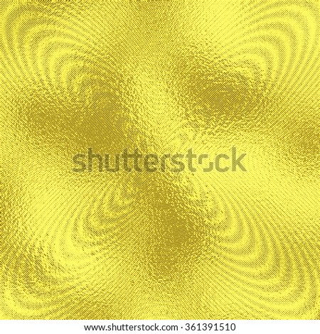 Luminous golden foil background with halftone effect for abstract illustrations. Shiny and bright metallic texture in gold with concentric circles. Psychedelic design. - stock photo