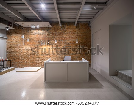 loft style office. Luminous Office In A Loft Style With Brick And Gray Walls. There Are Many Different