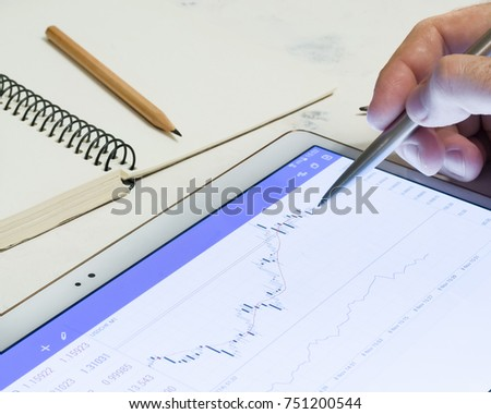 Luminous screen device with charts and quotations of the stock exchange. Finances and stock exchanges. Growth and fall of the rate. Small depth of field