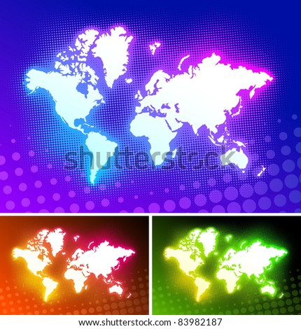 Luminous World map on a halftone backdrops. (Vector version of this work is available in my portfolio: # 53198707) - stock photo