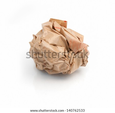 Lump crumpled paper isolate on white background