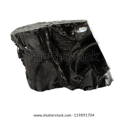 Lump of high quality anthracite isolated on white - stock photo
