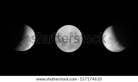 Lunar eclipse as seen from Samui,Thailand - stock photo