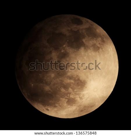 Lunar eclipse for a background 25.04.13. Ukraine, Donetsk region - stock photo
