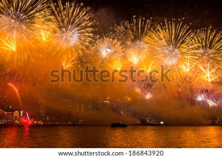 Lunar New Year Fireworks along Victoria Harbor in Hong Kong.  - stock photo