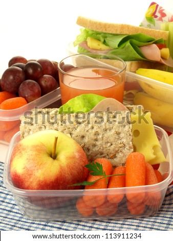 Lunch box and healthy food on isolated background - stock photo