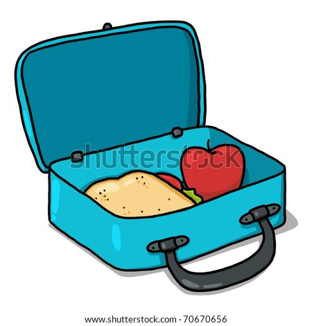 Lunch box illustration; Open lunchbox with sandwich and an apple