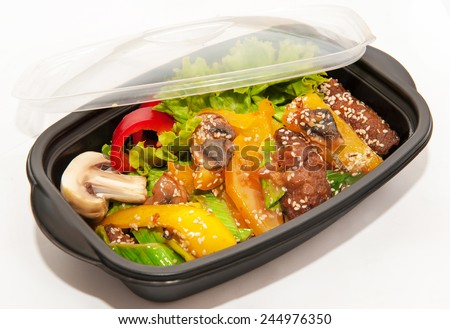 Lunch box with Chinese food on white background  - stock photo