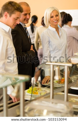 Lunch break business people in line wait for food meals - stock photo