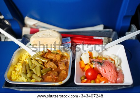 lunch in airplane on a blue table - stock photo
