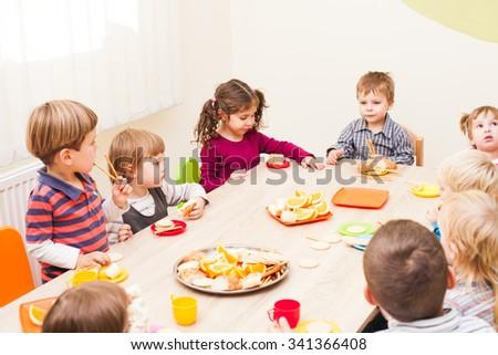 Lunch in kindergarden - stock photo