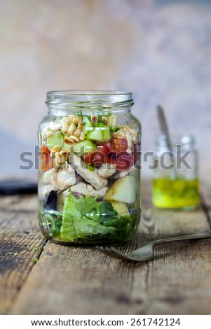Lunch in the jar - stock photo