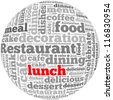 Lunch info-text graphics and arrangement concept on white background (word cloud) - stock photo