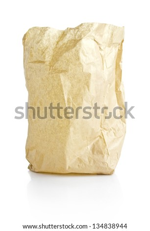 lunch paper bag isolated with clipping path