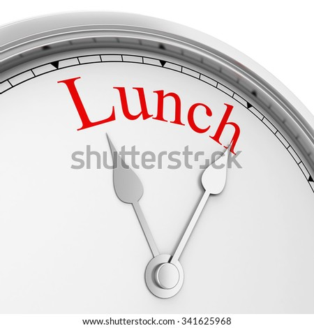 Lunch time. 3d illustration isolated on white background  - stock photo