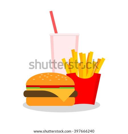 Lunch with french fries, hot dog and soda takeaway on isolated background. Fast food.