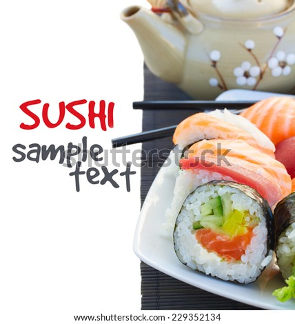 lunch with japaneese  sushi roll dish close up isolated on white background  - stock photo