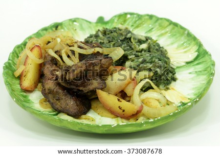 lunch with leaf chard and chicken liver - stock photo