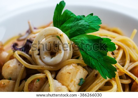 lunch with seafood and pasta - stock photo